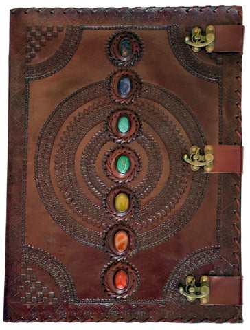 Chakra Stones Hand Embossed Leather Journal 13 x 18 inches