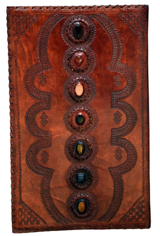 Chakra Stones Hand Embossed Leather Journal, 14 x 22 inches