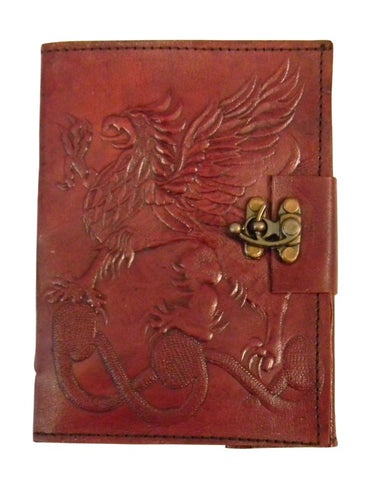 Gryphon Embossed Leather Bound Journal, 5 x 7 inches