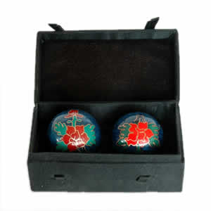 Cloisonne Chinese Health Balls - Peony