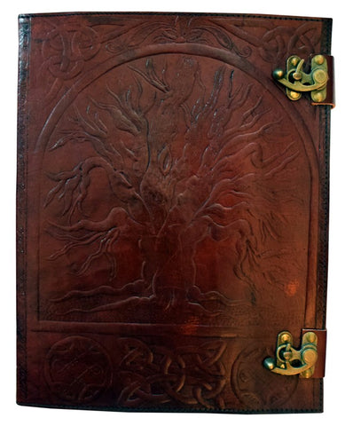 Tree of Life Embossed Leather Journal, 10 x 13 inches