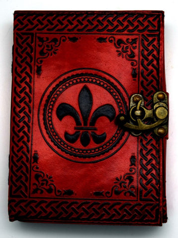 Fleur de Lis Embossed Leather Journal, 5 x 7 inches
