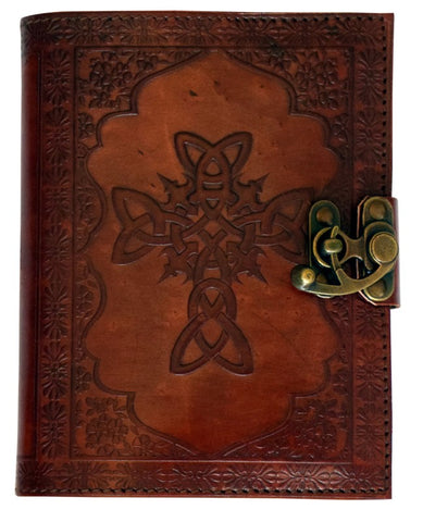 Celtic Cross Embossed Leather Journal