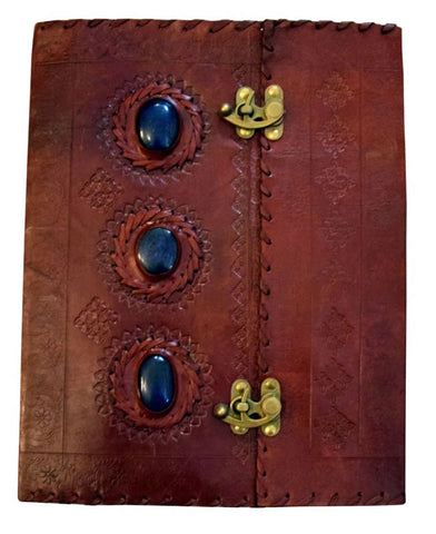 Three Stones Embossed Leather Journal, 10 x 13 inches