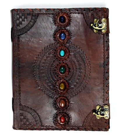Chakra Stones Embossed Leather Journal
