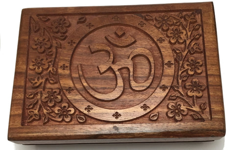 "Box - Carved Wood Om Symbol, 5"" x 7"""