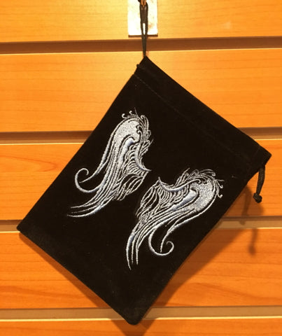 "Bag - Black Velvet Drawstring Pouch Embroidered with Angel Wings, 5"" x 7"""