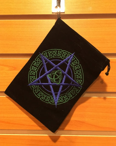 "Bag - Black Velvet Drawstring Pouch Embroidered With Celtic Pentacle, 5"" x 7"""