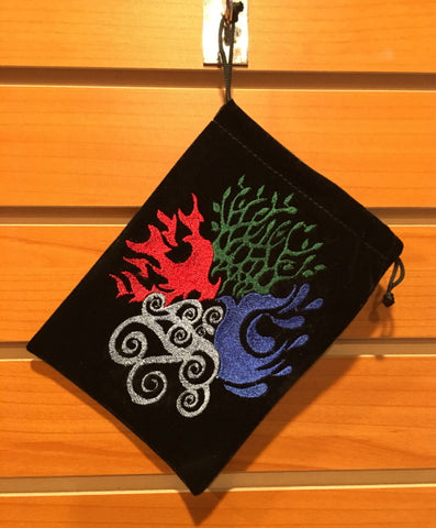 "Bag - Black Velvet Drawstring Pouch Embroidered With Four Elements, 5"" x 7"""