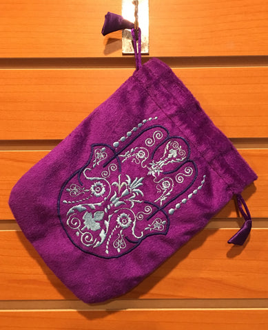 "Bag - Purple Velvet Drawstring Pouch Embroidered With Hamsa Hand, 6"" x 8"""