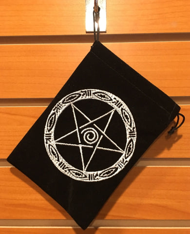 "Bag - Black Velvet Drawstring Pouch Embroidered With Pentacle, 5"" x 7"""