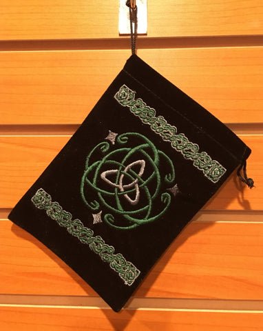 "Bag - Black Velvet Drawstring Pouch Embroidered With Triquetra, 5"" x 7"""