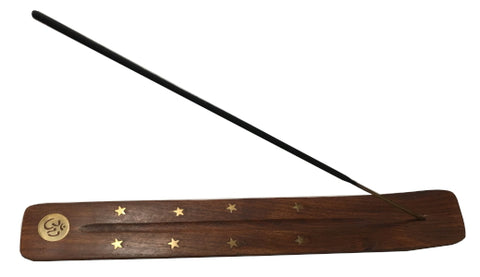 "Incense Holder - Wood With Brass Inlay Om, 10"" L x 1.5"" W"