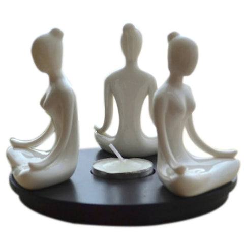 "Tea Light Candle Holder, Yoga Ladies, White - 5"" x 5"" x 4.5"""