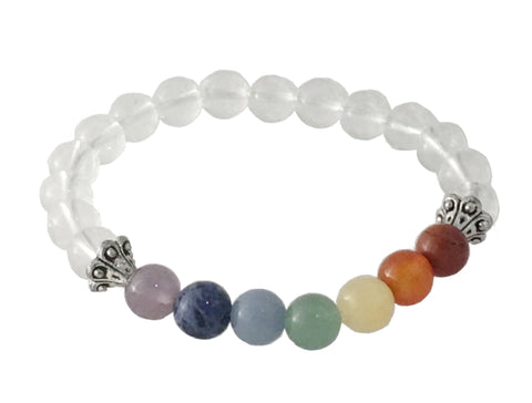 "Gemstone Bracelet - Chakra Stones With Clear Quartz, 7"" L"