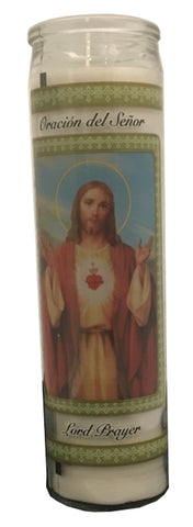 "Prayer Candle - Lord's Prayer, 8"" tall x 2"" diameter"