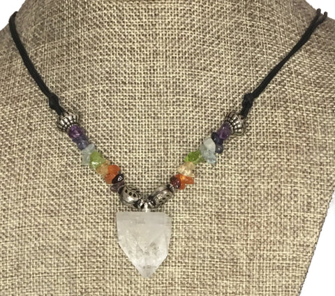 chakra stones and clear crystal necklace