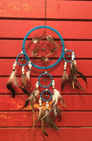 "Dreamcatcher - Blue Wrap with Cowrie Shells, 24"" L x 6.5"" diameter"