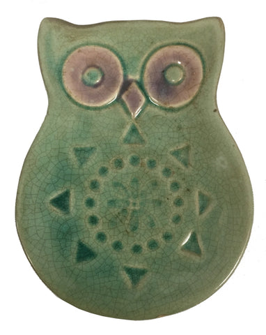 "Candle Holder Dish, Green Owl, 5.5"" x 4.5"""