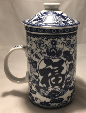 Strainer Mug - Good Fortune Blue