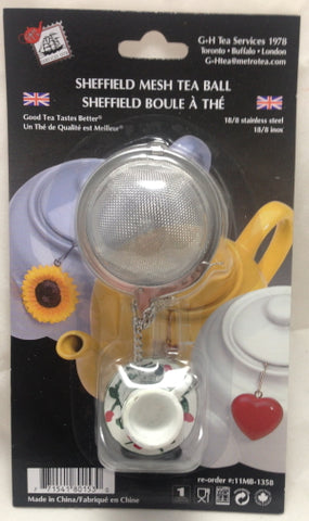 "2"" Mesh Tea Ball with Fob – White Teacup with Flowers"