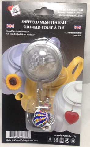"2"" Mesh Tea Ball With White Teapot and Flowers Fob"