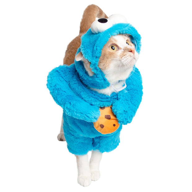 orange and white cat wearing a cookie monster cat costume