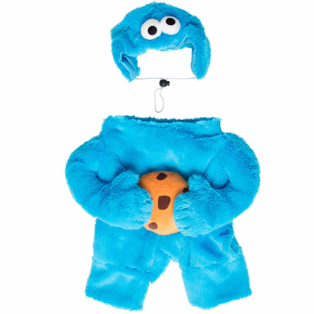 front view of cookie monster cat costume with a hat and bodysuit