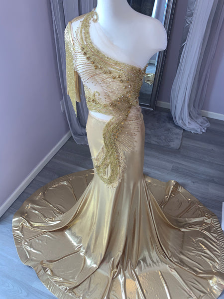 Beaded Gold Sequin Dress