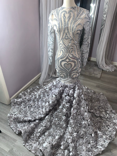 Silver Sequin Rosette Dress