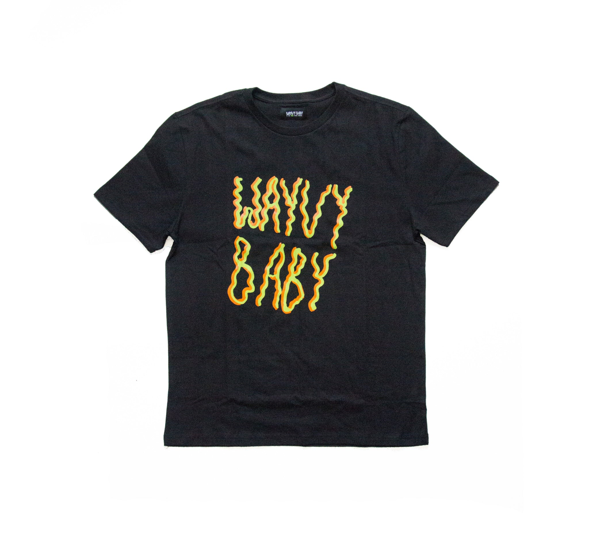"""WAYVY BABY""  TWO TONE BOX LOGO - BLACK - T-SHIRT"