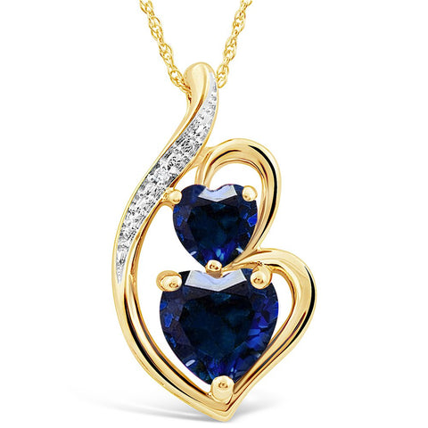 Lab Created Blue Sapphire Heart Necklace in 10k Yellow Gold with Diamond Accent