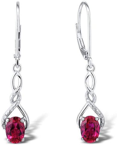 Lab Created Ruby Earring in Sterling Silver with Diamond Accent