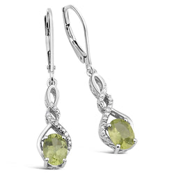 Peridot Earrings with Diamond Accent in Sterling Silver