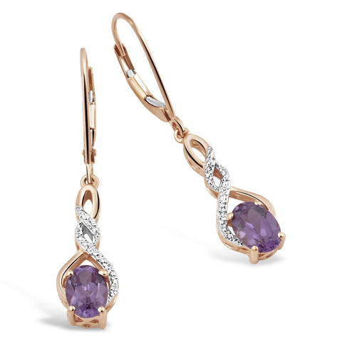 Simulated Alexandrite Earrings Diamond Accent in 10k Yellow Gold - Lever Backs