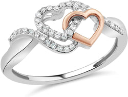 Diamond Promise Ring in Sterling Silver with Intertwined 10k Rose Gold Heart1/10 cttw