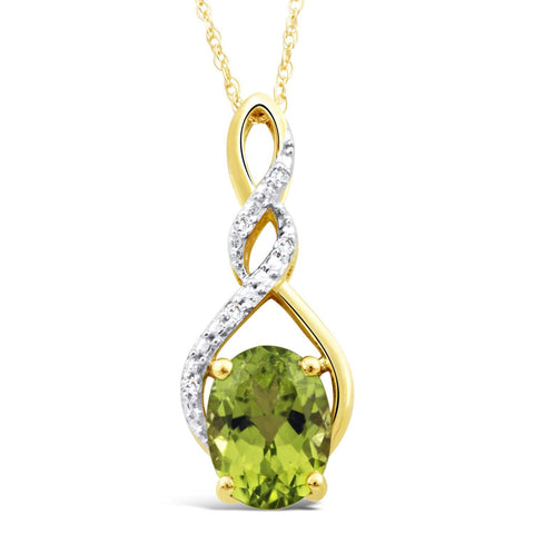 Peridot Necklace in 10k Yellow Gold with Diamond Accent