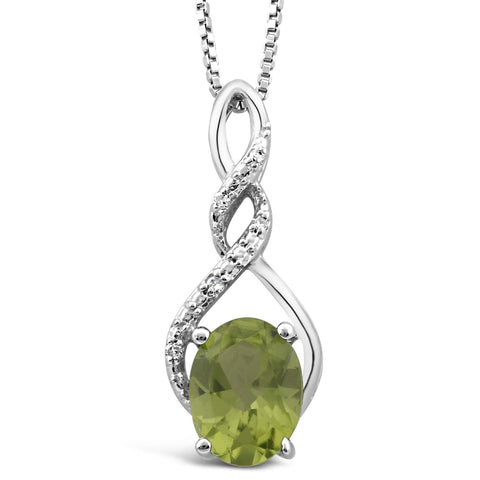 Peridot Necklace in Sterling Silver with Diamond Accent