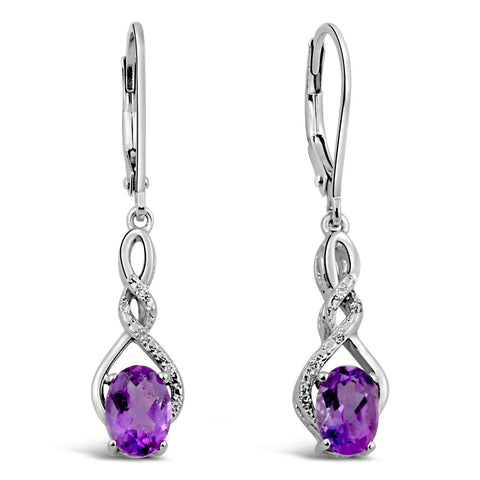 Amethyst Earrings Diamond Accent in Sterling Silver
