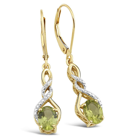 Peridot Earrings with Diamond Accent in 10k Yellow Gold