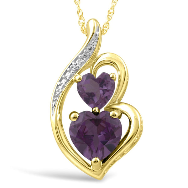 Simulated Alexandrite Necklace Diamond Accent 10k Yellow Gold - 18 Inch Rope Chain