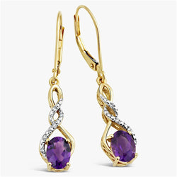 Amethyst Earrings Diamond Accent in 10k Yellow Gold and Rhodium Plated Accents