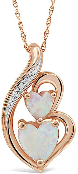 Lab Created Opal Necklace Heart with Diamond Accent in 10k Rose Gold - 18 Inch Rope Chain