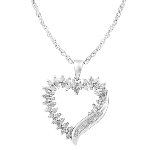 Diamond Heart Necklace in Sterling Silver 1/2 cttw - 18 Inch Cable Chain