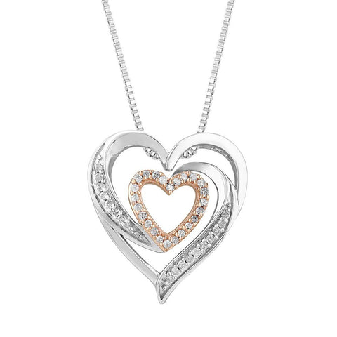 Diamond Heart Necklace in Sterling Silver and 10k Rose Gold - 18 Inch Box Chain