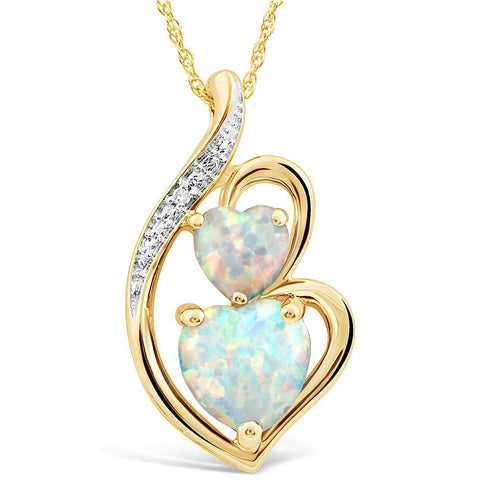 Lab Created Opal Necklace with Diamond Accent in 10k Yellow Gold - 18 Inch Rope Chain