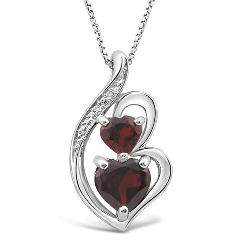Garnet Necklace Heart in Silver Silver with Diamond Accent - 18 Inch Box Chain
