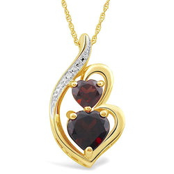 Garnet Necklace in 10k Yellow Gold Heart Shape Garnet with Diamond Accent - 18 Inch Box Chain