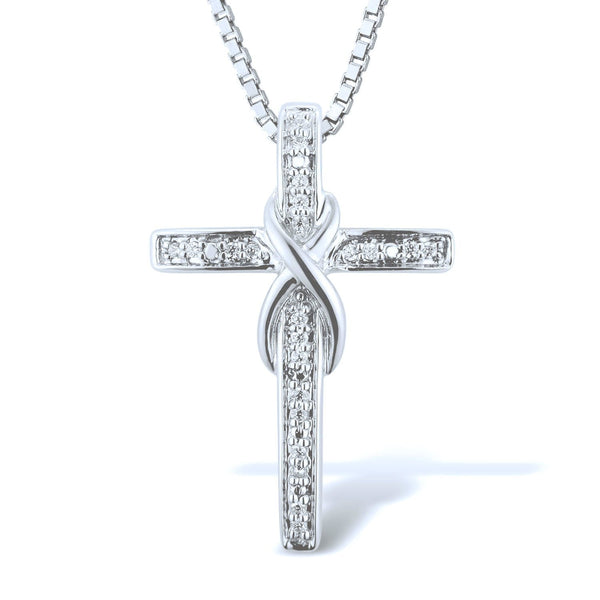 Diamond Cross Necklace in Sterling Silver (.08 cttw - HI, I2-I3)