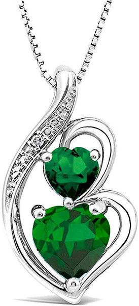 Simulated Emerald Double Heart Necklace Diamond Accent in Sterling Silver - 18 Inch Box Chain